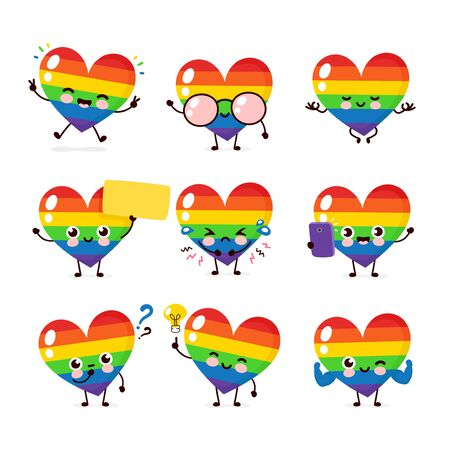 Cute happy smiling LGBT heart character set collection. Vector flat cartoon illustration icon design. Isolated on white background. Human rights. LGBTQ. Gay pride concept