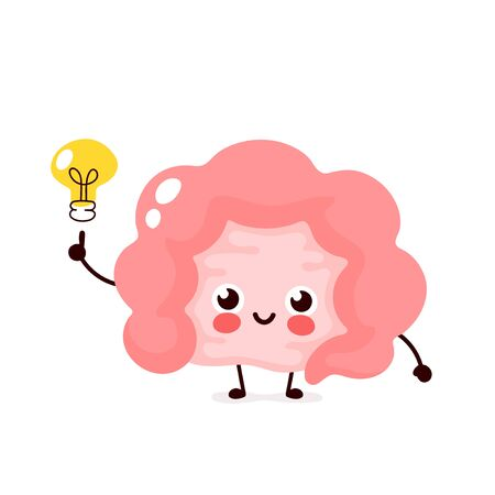 Happy cute intestine with lightbulb character.Vector flat style illustration icon design. Isolated on white background. Intestine have idea concept