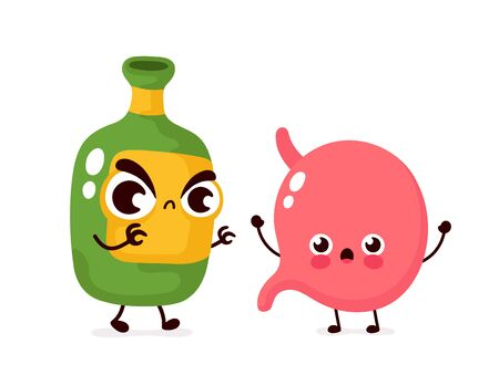 Angry scary alcohol bottle kill stomach character. Vector flat cartoon illustration icon design. Isolated on white background.Alcohol addiction kill stomach concept Ilustrace