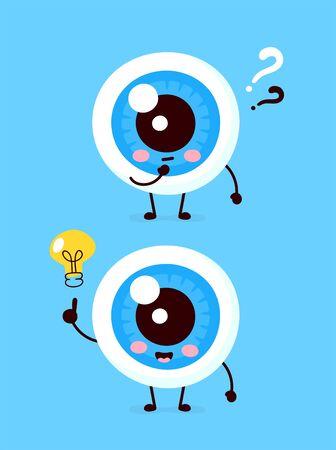 Globe oculaire mignon avec point d'interrogation et caractère d'ampoule. Conception d'icône d'illustration de personnage de dessin animé plat de vecteur. Isolé sur fond blanc. Les yeux ont un concept d'idée