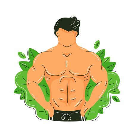 Strong fitness muscular man with perfect body. Green nature leafs. Vector trendy flat illustration character design.Isolated on white background.Natural muscle growing and nature concept
