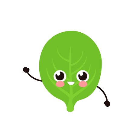 Cute happy spinach leaf character. Vector flat cartoon illustration icon design. Isolated on white background. Spinach character concept Illustration