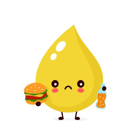 Cute sad unhealthy urine drop with burger and soda character. Vector modern trendy flat style cartoon illustration icon design. Isolated on white background. Urine drop character concept Illustration