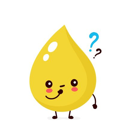 Cute urine drop with question mark character. Vector modern trendy flat style cartoon illustration icon design. Isolated on white background. Urine drop thinking character