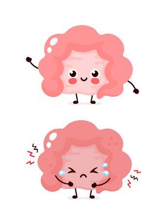 Intestin malade triste et malsain mignon et intestin heureux souriant sain et fort. Conception d'icône d'illustration de personnage de dessin animé moderne. Isolé sur fond blanc. Nutrition, intestin, intestin, côlon, concept de l'intestin Vecteurs