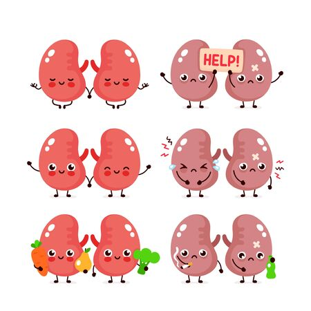 Cute kidneys set. Healthy and unhealthy human organ. Vector modern style cartoon character illustration icon design. Bad habits,healthy nutrition,couple of human kidney concept