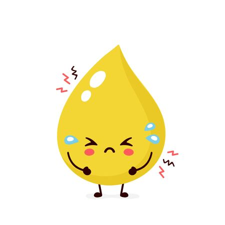 Cute sad unhealthy urine drop character. Vector modern trendy flat style cartoon illustration icon design. Isolated on white background. Urine drop character concept