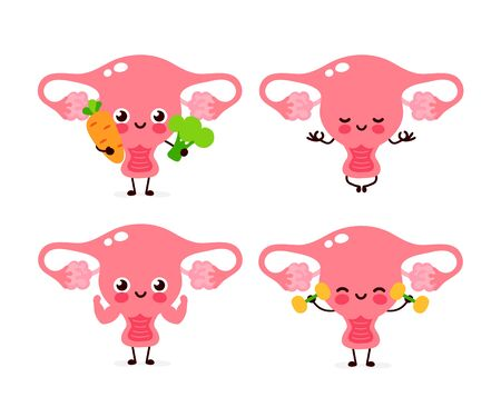 Cute healthy happy women uterus organ character set collection. Vector flat cartoon illustration icon design. Isolated on white background. Uterus character concept