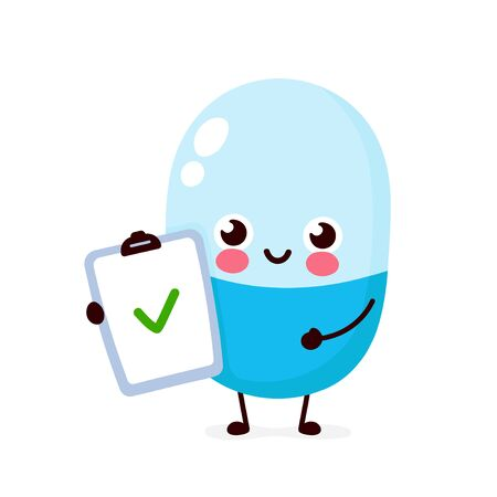 Cute strong happy smiling pill hold check list character. Vector flat cartoon illustration icon design. Isolated on white background. Pill character concept Illustration