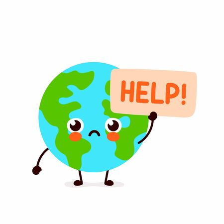 Cute sad Earth planet ask help character.Vector hand drawing flat style illustration icon design. Isolated on white background. Eco friendly,save ecology,Earth day concept.World map globe