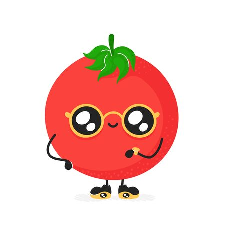 Cute happy smiling tomato character. Vector modern trendy flat style cartoon illustration icon design. Isolated on white background. Tomato character concept Stock Illustratie