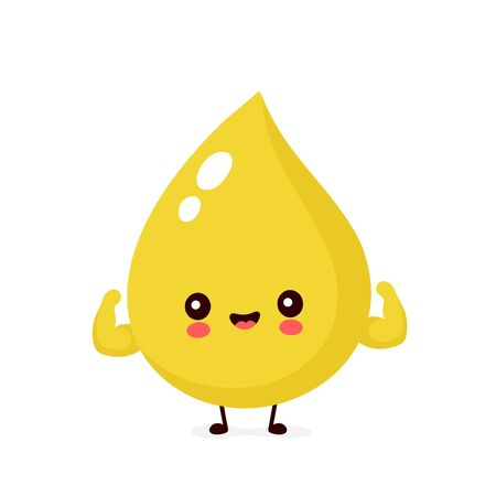 Cute happy smiling urine drop show muscle character. Vector modern trendy flat style cartoon illustration icon design. Isolated on white background. Urine drop character concept