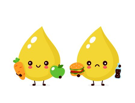 Cute sad unhealthy urine drop with burger and soda and healthy character. Vector modern trendy flat style cartoon illustration icon design. Isolated on white background. Urine drop character concept