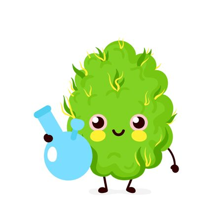Cute funny smiling happy marijuana weed bud smoke bong.Vector flat cartoon character illustration icon design. Isolated on white background.Weed bud ,bong,marijuana,medical cannabis concept