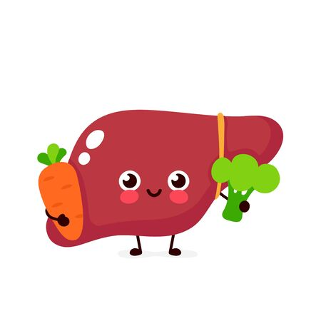 Cute healthy happy liver character with broccoli and carrot. Vector flat cartoon illustration icon design. Isolated on white background. Healthy food nutrition,human liver organ concept