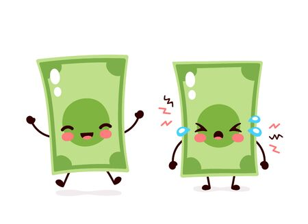 Cute happy smiling and sad cry money banknote. Vector flat cartoon character illustration icon design. Isolated on white background. Dollar bill,money rise and fall,banknote concept