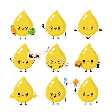 Cute happy smiling urine drop character set collection. Vector flat cartoon illustration icon design. Isolated on white background. Urine character concept Ilustracja