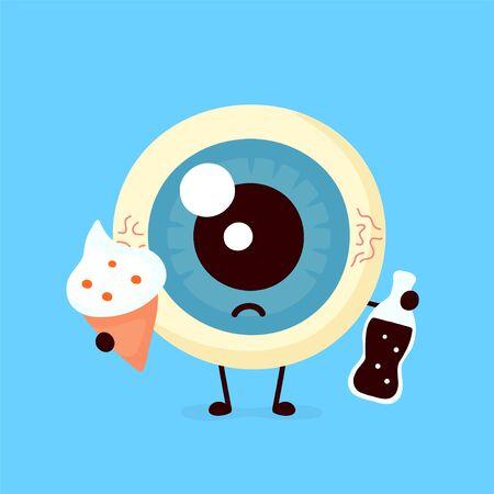 Trauriges ungesundes krankes menschliches Augapfelorgan mit einer Flasche Soda und Eis. Vektor-moderne Cartoon-Figur-Abbildung-Symbol. Isoliert auf weißem Hintergrund. Ungesunde Ernährung, Augenkonzept