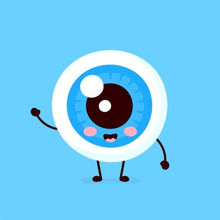 Cute healthy happy human eyeball organ character. Vector flat cartoon illustration icon design. Isolated on white background. Eye character concept