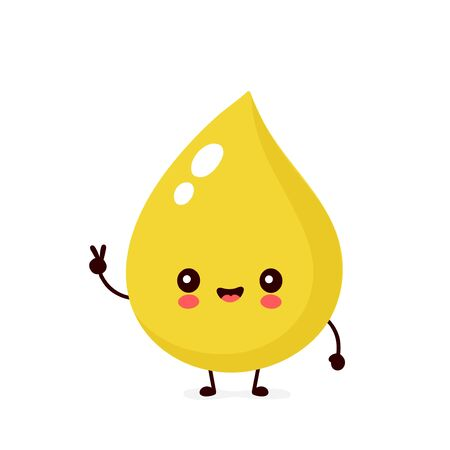 Cute happy smiling urine drop character. Vector modern trendy flat style cartoon illustration icon design. Isolated on white background. Urine drop character concept Illustration