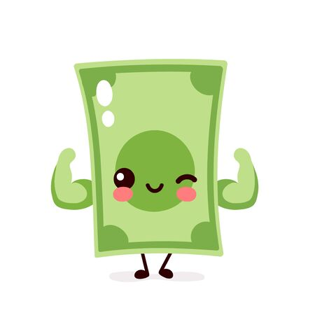 Strong happy money banknote show muscle. Vector flat cartoon character illustration icon design. Isolated on white background. Dollar bill,money,banknote