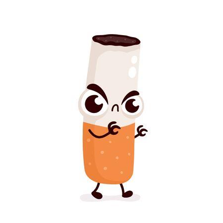 Personnage de cigarette mignon en colère. Conception d'icône d'illustration de dessin animé plat de vecteur. Isolé sur fond blanc. Dépendance au tabac, concept de cigarette Vecteurs