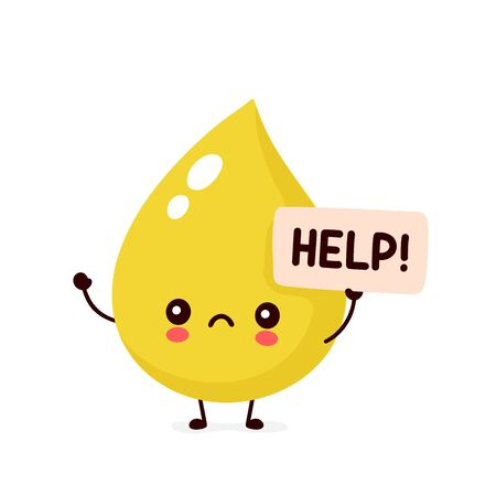 Sad sick urine drop asks for help character. Vector flat cartoon illustration icon design. Isolated on white backgound Illustration