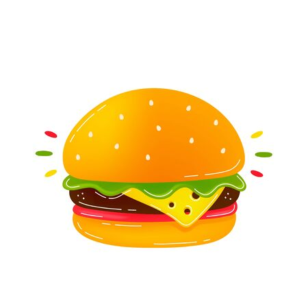 Beauty delicious burger. Modern trendy flat style cartoon illustration icon design. Isolated on white background. Burger,fast food concept