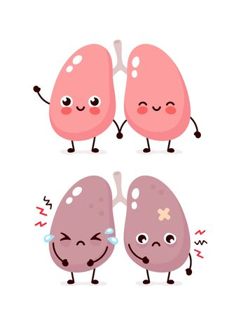 Sad suffering sick cute and healthy happy smiling lungs character. Vector flat cartoon illustration icon design. Isolated on white backgound. Suffering unhealthy cry and happy lungs character concept