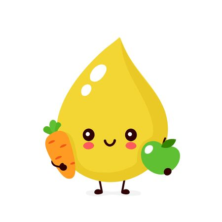 Cute happy smiling urine drop with carrot and apple character. Vector modern trendy flat style cartoon illustration icon design. Isolated on white background. Urine drop character concept Illustration