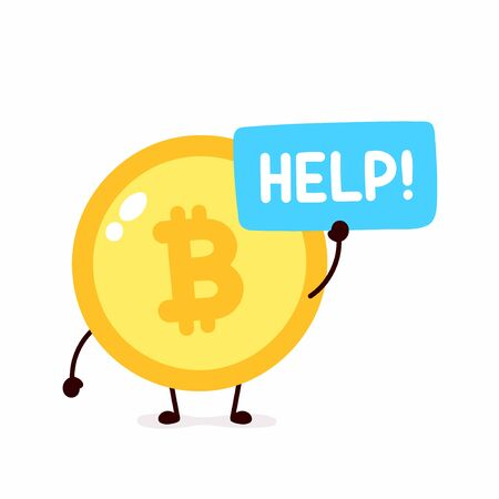 Bitcoin coin ask help. Vector flat cartoon character illustration icon design. Isolated on white background. Crypto currency,Bitcoin concept Иллюстрация
