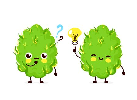 Cute funny smiling happy marijuana weed bud with question mark and idea.Vector flat cartoon character illustration icon design. Isolated on white background.Weed bud,marijuana,medical cannabis concept Illustration