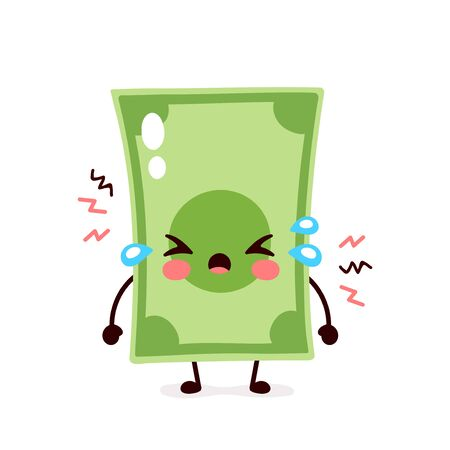Cute sad cry money banknote. Vector flat cartoon character illustration icon design. Isolated on white background. Dollar bill,money,finance crisis,banknote concept Illusztráció