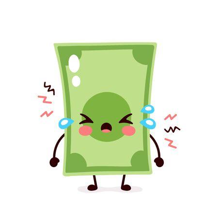 Nette traurige Schreigeldbanknote. Vektor-flache Cartoon-Figur-Illustration-Icon-Design. Isoliert auf weißem Hintergrund. Dollarschein, Geld, Finanzkrise, Banknotenkonzept