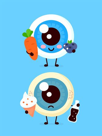 Cute healthy happy uterus organ with vegetables and sad with burger character. Vector flat cartoon illustration icon design. Isolated on white background. Healthy and unhealthy food, nutrition concept