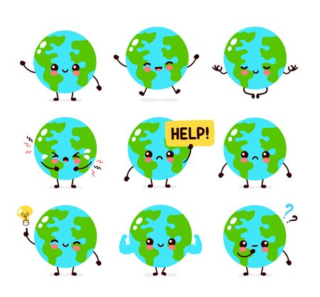 Netter trauriger Schrei und glücklicher Erdplanetencharakter. Vektorhand, die flaches Artillustrationsikonendesign zeichnet. Isoliert auf weißem Hintergrund. Umweltfreundlich, Ökologie sparen, Earth Day Konzept. Weltkarte Globus