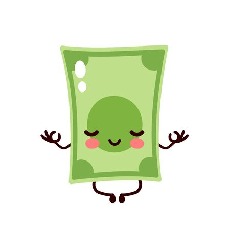 Strong happy money banknote meditate in lotus yoga pose. Vector flat cartoon character illustration icon design. Isolated on white background. Dollar bill,money,banknote concept Vectores