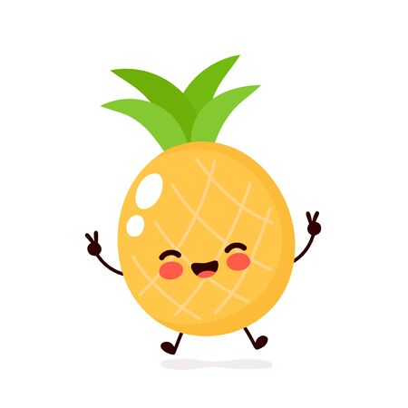 Cute happy smiling pineapple character. Vector flat cartoon illustration icon design. Isolated on white background. Pineapple character concept 向量圖像