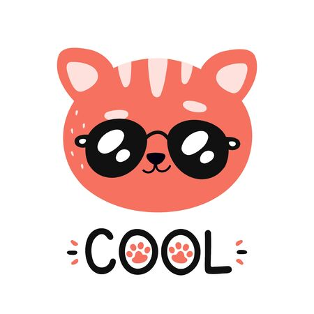 Cute happy smiling cool cat in sunglasses character. Vector modern trendy flat style cartoon illustration icon design. Isolated on white background. Cat,kitty print design for card,t-shirt concept