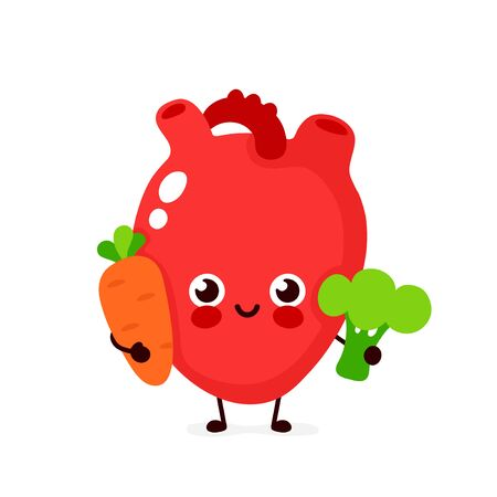 Cute healthy happy heart character with broccoli and carrot. Vector flat cartoon illustration icon design. Isolated on white background. Healthy food nutrition,human heart organ concept