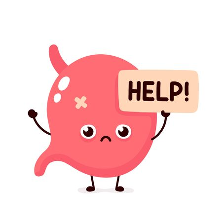 Sad suffering sick cute human stomach  organ asks for help character. Vector flat cartoon illustration icon design. Isolated on white backgound. Suffering unhealthy stomach character concept Stock Illustratie