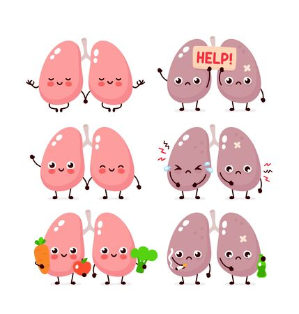 Cute lungs set. Healthy and unhealthy human organ. Vector modern style cartoon character illustration icon design. Bad habits,nutrition,lungs concept Stock Illustratie