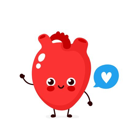 Strong cute healthy happy human heart organ character with speech bubble. Vector flat cartoon illustration icon design. Isolated on white background. Healthy human heart concept Stock Illustratie