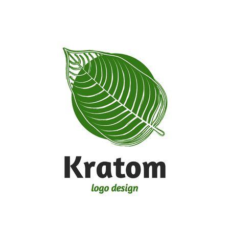 Mitragyna speciosa, kratom leaf logo template. Vector flat illustration icon design. Isolated on white background. Kratom plant, drug leaf concept
