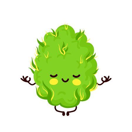 Cute funny smiling happy marijuana weed bud meditate in yoga pose.Vector flat cartoon character illustration icon design. Isolated on white background.Weed bud,marijuana,medical cannabis concept Stock Illustratie
