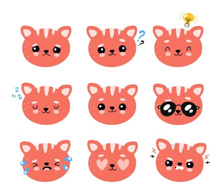 Cute happy smiling and sad cat character set collection. Vector flat cartoon illustration icon design. Isolated on white background. Cat, kitty emotions character concept