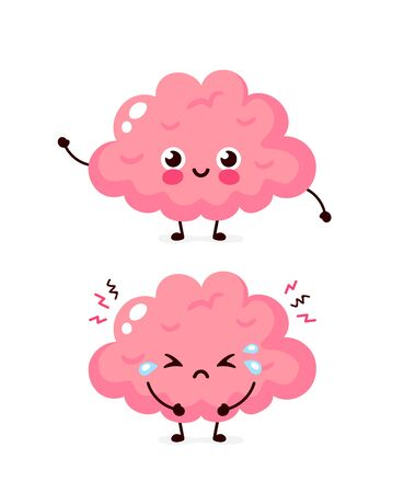 Cute sad unhealthy sick and strong healthy smiling happy brain. Vector modern cartoon character illustration icon design.Isolated on white background.Brain problem concept