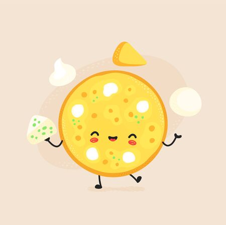 Cute happy cheese pizza character. Vector flat cartoon illustration icon design. Isolated on white background. Pizza character concept Illustration