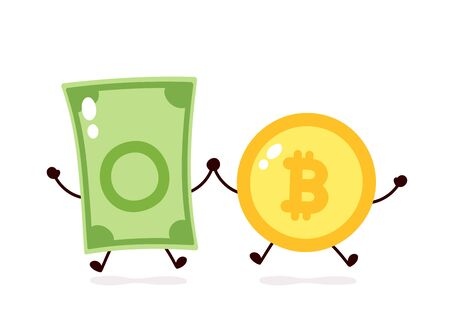 Bitcoin coin and money banknote jump character. Vector flat cartoon character illustration icon design. Isolated on white background. Crypto currency,Bitcoin,dollar bill concept Stock Illustratie