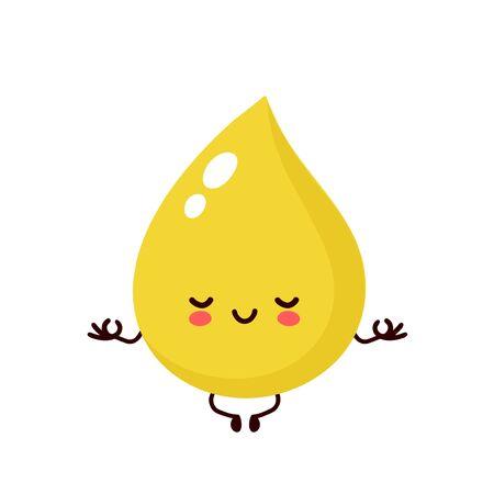 Schattig gelukkig lachend urinedruppel mediteren karakter. Vector moderne trendy vlakke stijl cartoon afbeelding pictogram ontwerp. Geïsoleerd op een witte achtergrond. Urinedruppel karakter concept